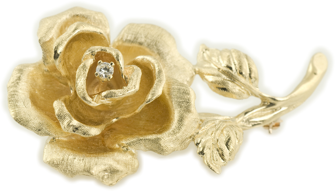 Vintage Gold and Diamond Rose Brooch