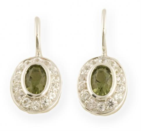 Asteria : Halo Drop Earrings with White Sapphires