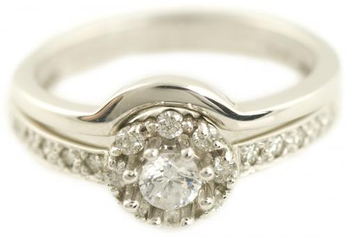 Round Diamond Halo Wedding Set with Simple Shadow Band