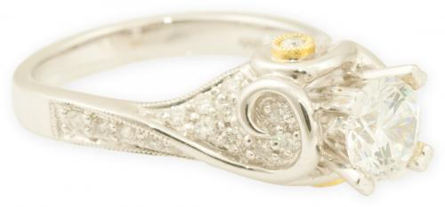 Pave Diamond Art Nouveau Engagement Ring