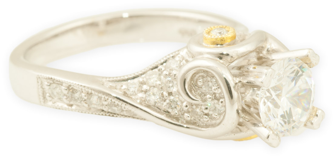 Pave Diamond Art Nouveau Engagement Ring