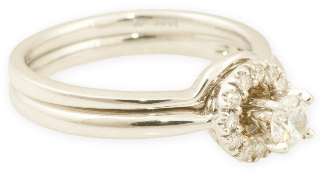 Round Diamond Halo Wedding Set With Plain Band X16562 Arden Jewelers