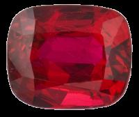 A fiery red cushion cut ruby