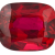 A fiery red cushion cut ruby