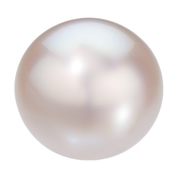 A pure white round cultured pearl