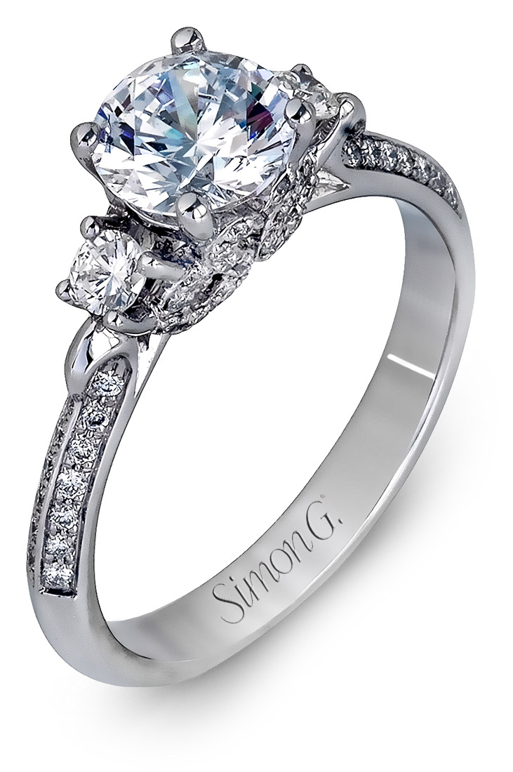 Simon G : Side Diamond Engagement Ring