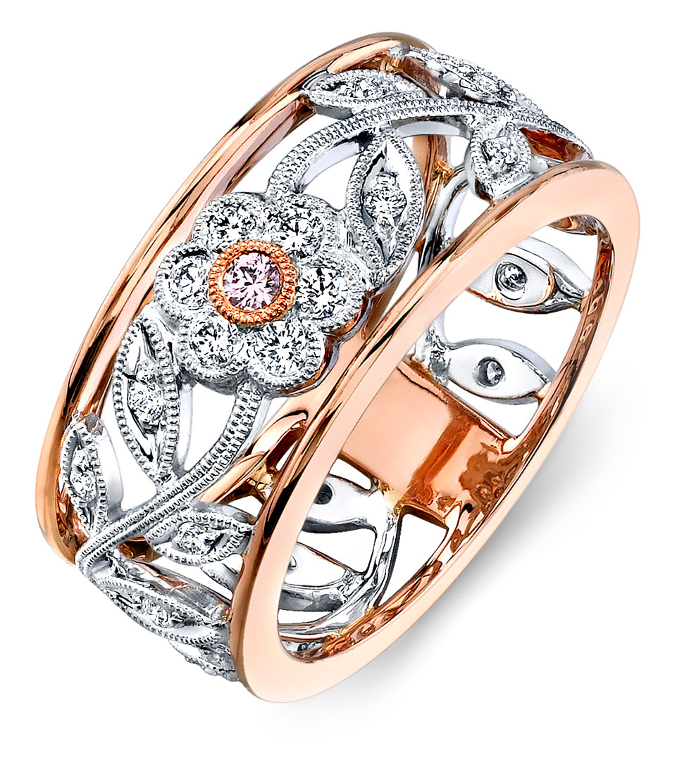 rose beautiful gold hand right plated double intertwined rings cz ring accent set sterling design silver pave