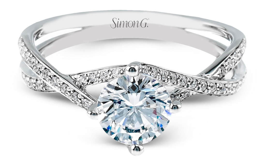 simon g criss cross engagement ring - Cross Wedding Rings