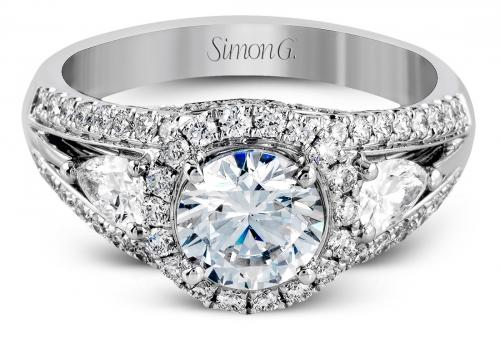 Simon G : Halo Cathedral Engagement Ring with Pear Accents