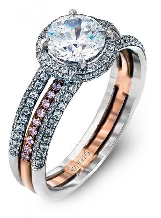 Simon G : Two Tone Split Shank Halo Engagement Ring