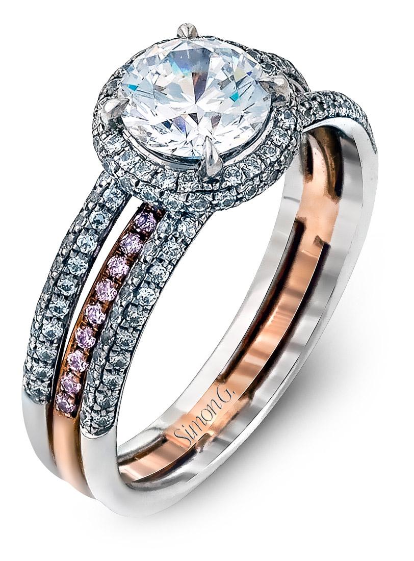 Simon G : Two Tone Split Shank Halo Engagement Ring