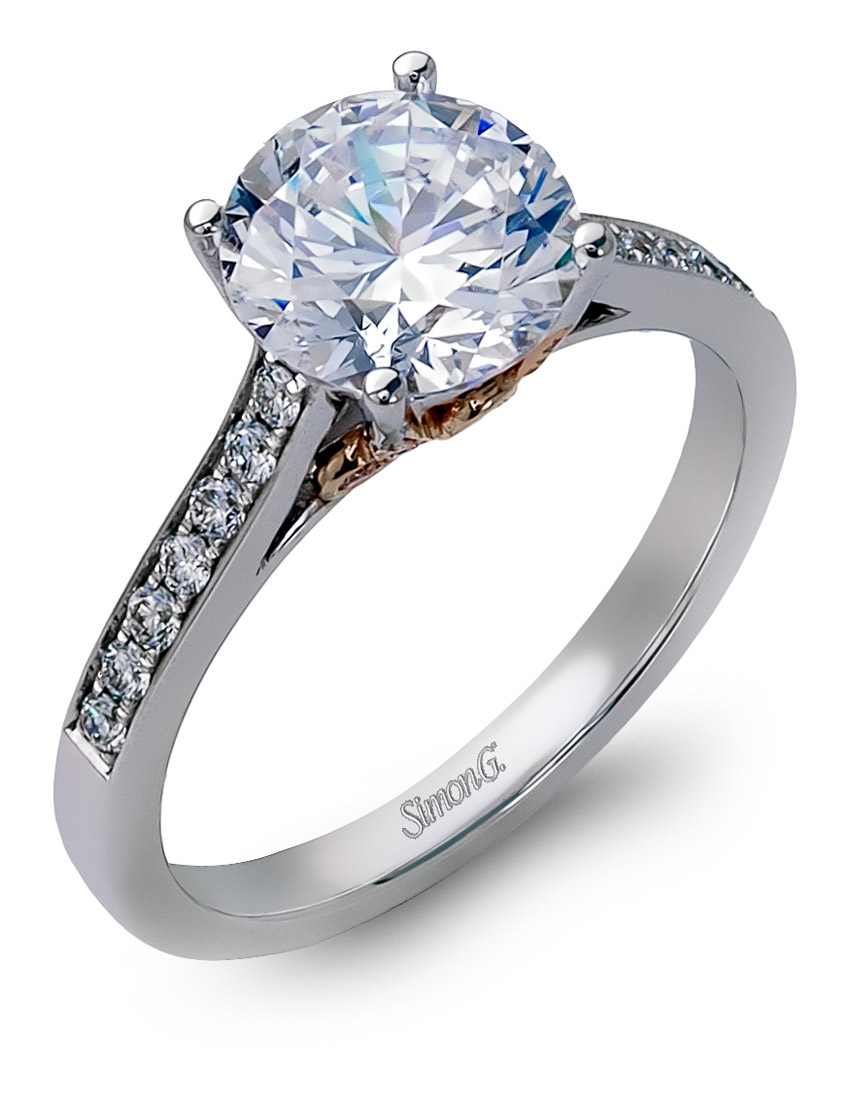 engagement with cathedral rings a shown diamond ring cut solitaire round product tapered carat center