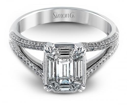 Simon G : Split Shank Mosaic Engagement Ring