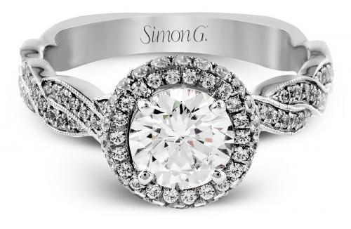 Simon G : Twisted Rope Halo Engagement Ring