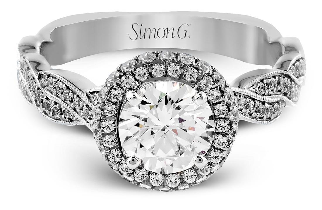 Simon G : Twisted Rope Halo Engagement Ring