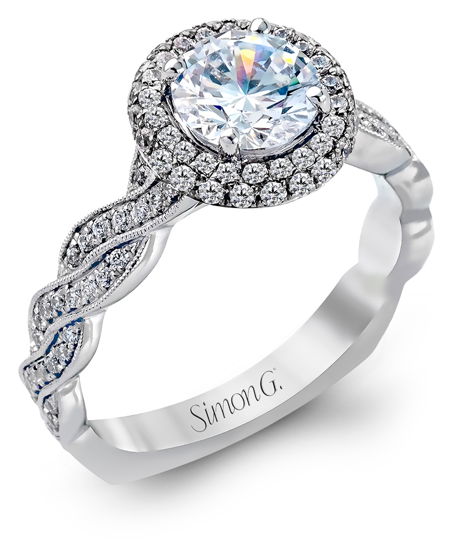 Simon G Twisted Rope Halo Engagement Ring MR2133 Arden Jewelers