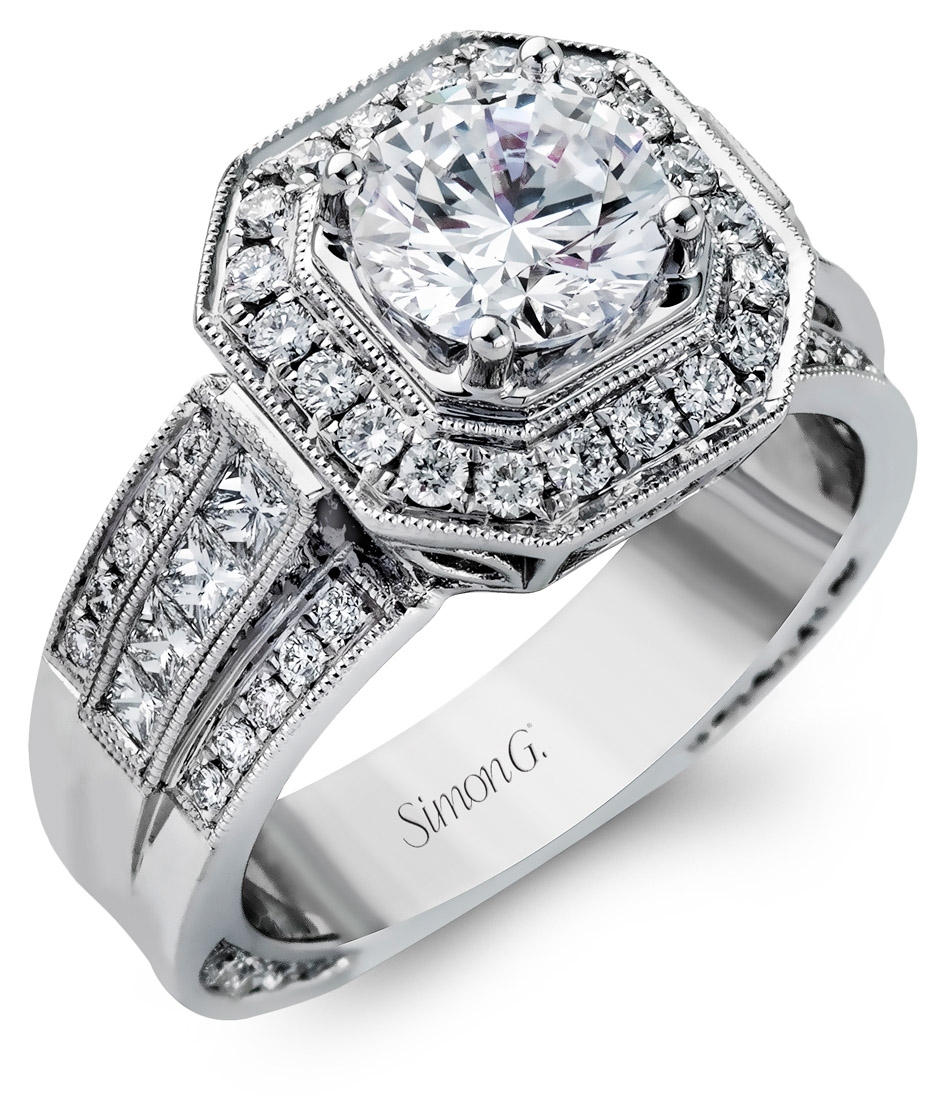 Simon G : Bold Engagement Ring With Halo : NR109 : Arden Jewelers