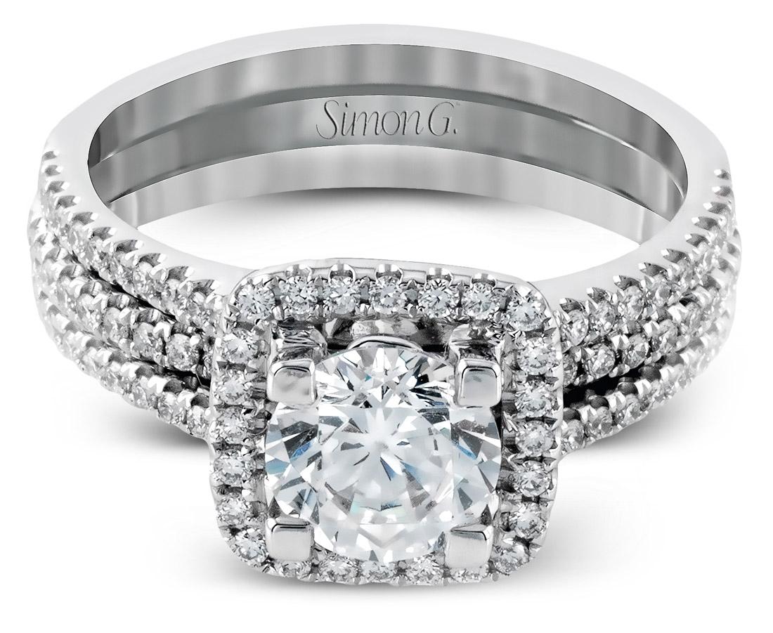Simon G Halo Wedding Set