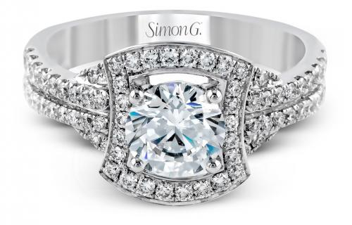 Simon G : Flared Halo Engagement Ring