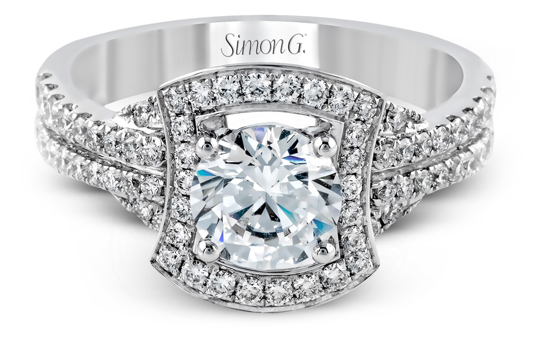 Simon G : Flared Halo Engagement Ring : TR330 : Arden Jewelers