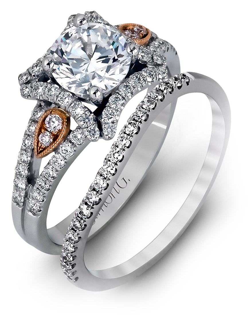 Simon G : Star Halo Two Tone Engagement Ring