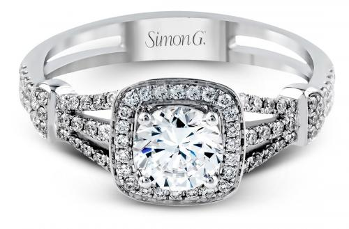 Simon G : Vintage Look Halo Engagement Ring