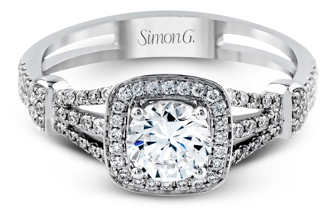 Simon G : Vintage Look Halo Engagement Ring : TR418 : Arden Jewelers