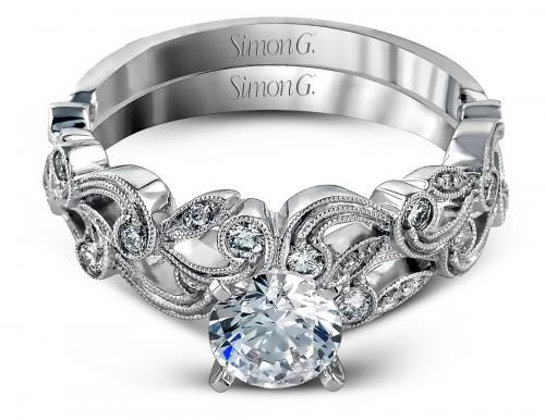 Simon G : Floral Milgrain Engagement Ring