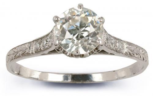 Vintage Filigree Hand Engraved Engagement Ring
