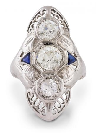 Vintage Filigree Diamond and Sapphire Ring