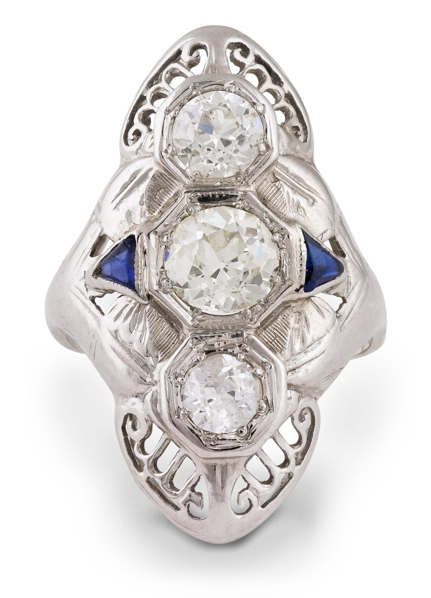 Vintage Filigree Diamond and Sapphire Ring