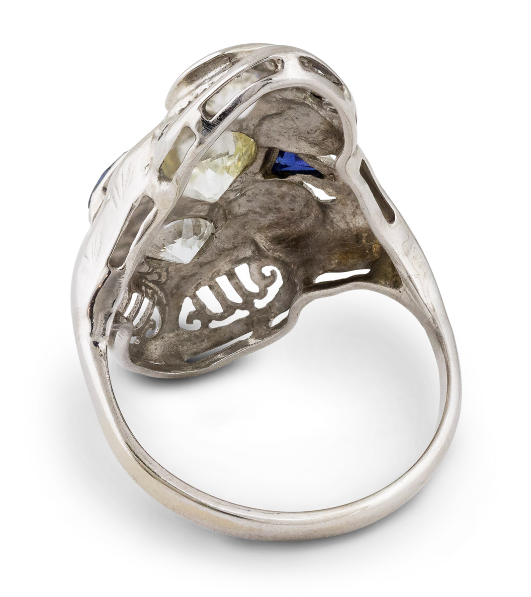 Vintage Filigree Diamond and Sapphire Ring - Back