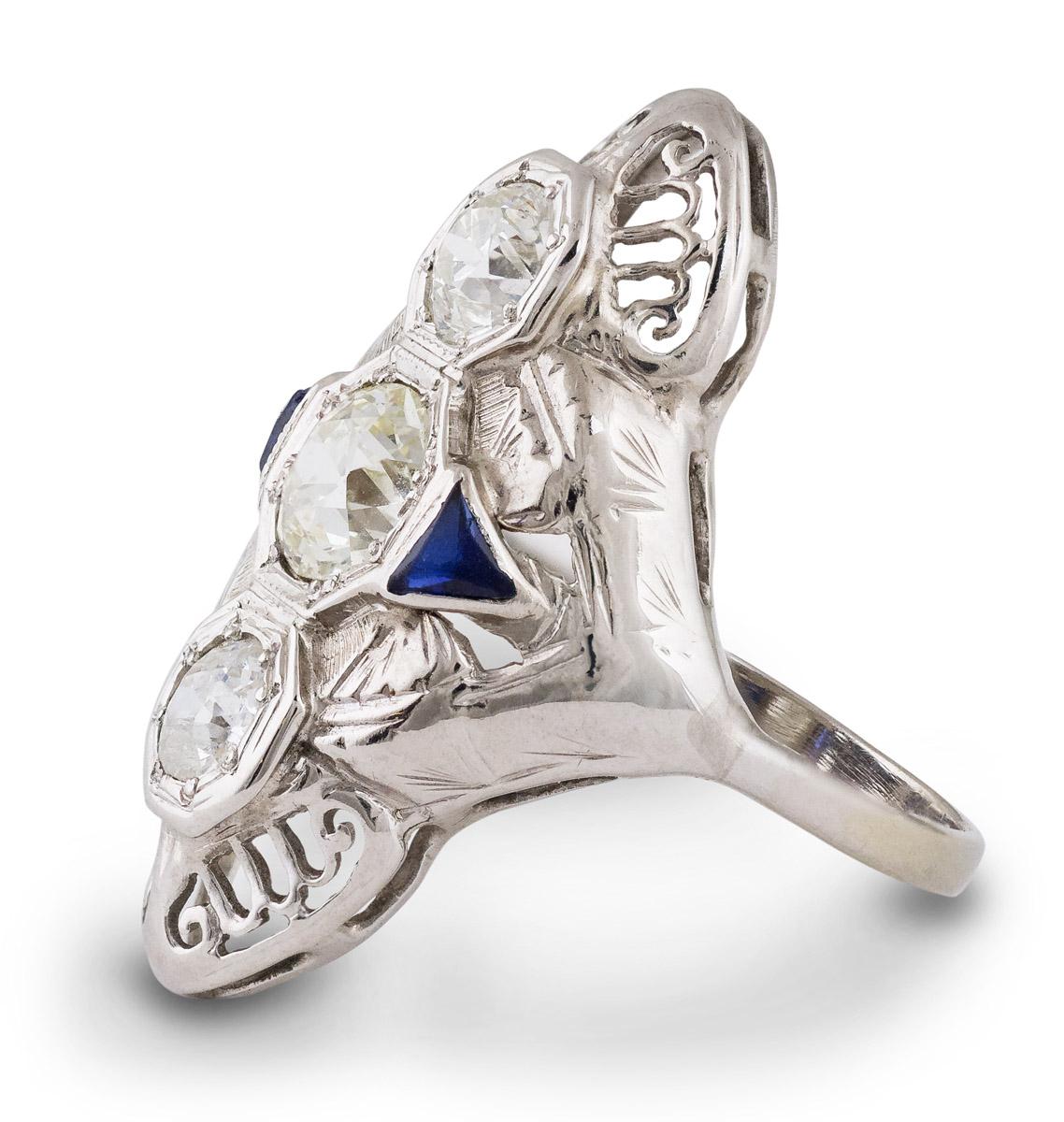 Vintage Filigree Diamond and Sapphire Ring - Side