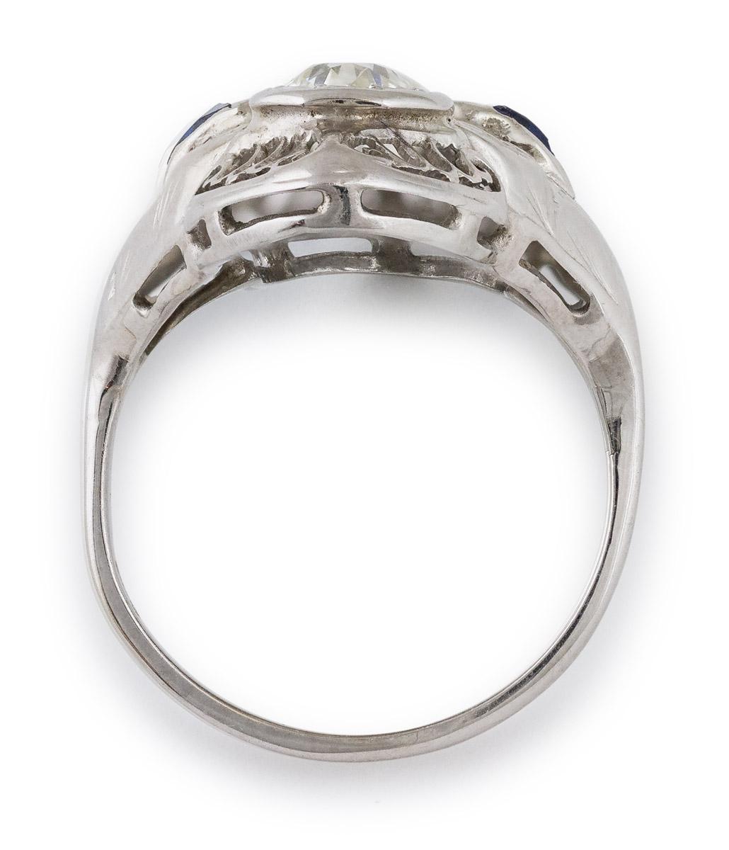 Vintage Filigree Diamond and Sapphire Ring - Top