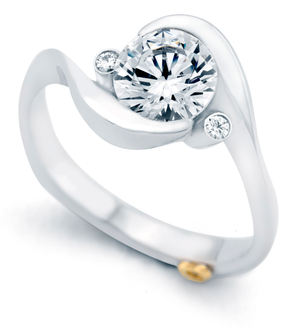 Mark Schneider Spark contemporary engagement ring side view