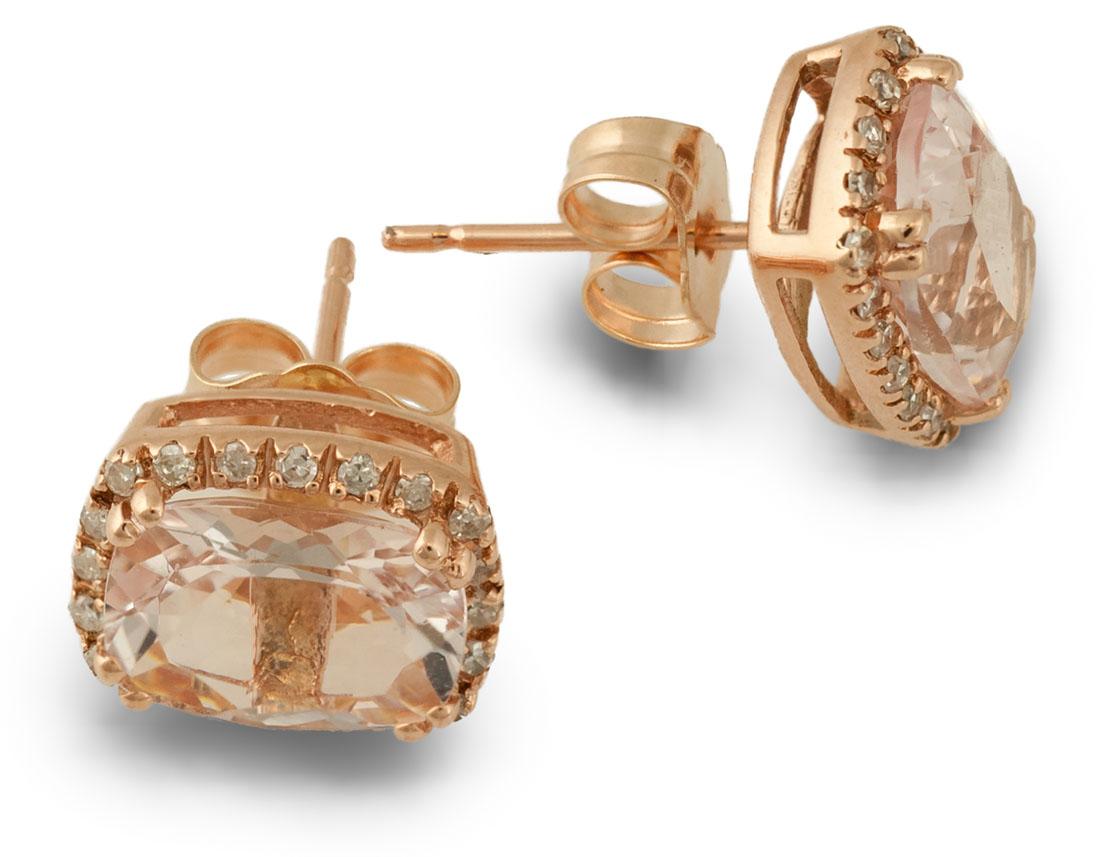 Rose Gold Morganite Earrings Top