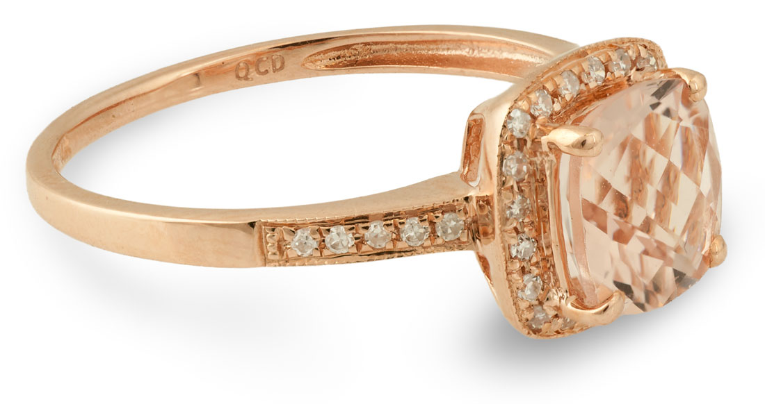 Rose Gold Morganite Engagement Ring Side