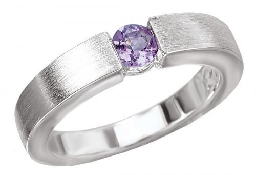 Modern Amethyst Satin Silver Ring