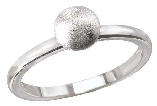 Satin Silver Ball Ring