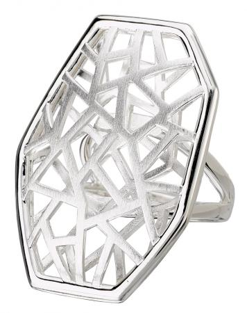 Satin Lattice Geometric Silver Ring
