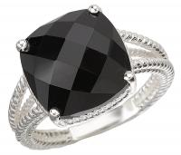 Cushion Black Onyx Silver Rope Ring