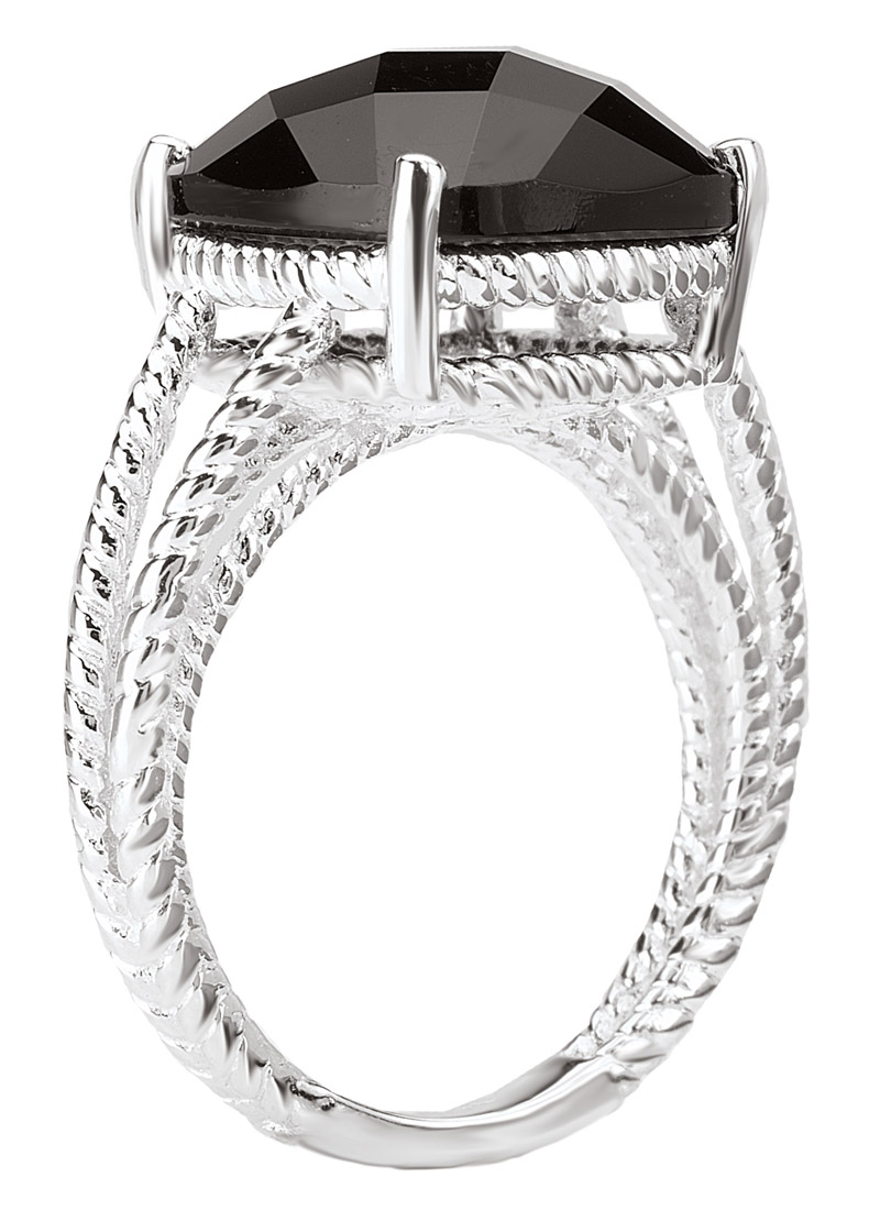 Cushion Black Onyx Silver Rope Ring Side View