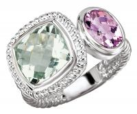 Purple and Green Amethyst Rope Ring