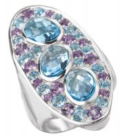 Blue Topaz and Amethyst Abstract Ring
