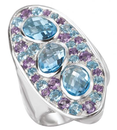Blue Topaz and Amethyst Abstract Silver Ring