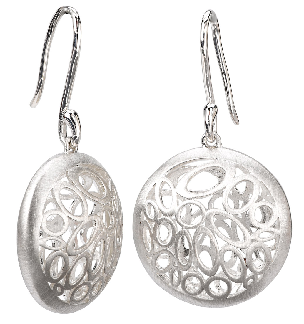 Round Domed Earrings with Oval Cutouts
