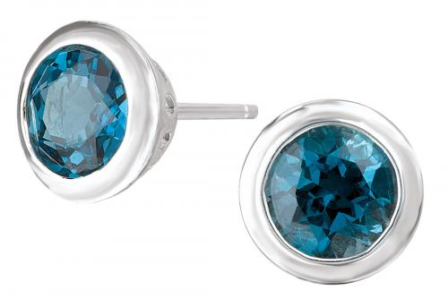 London Blue Topaz Bezel Stud Earrings