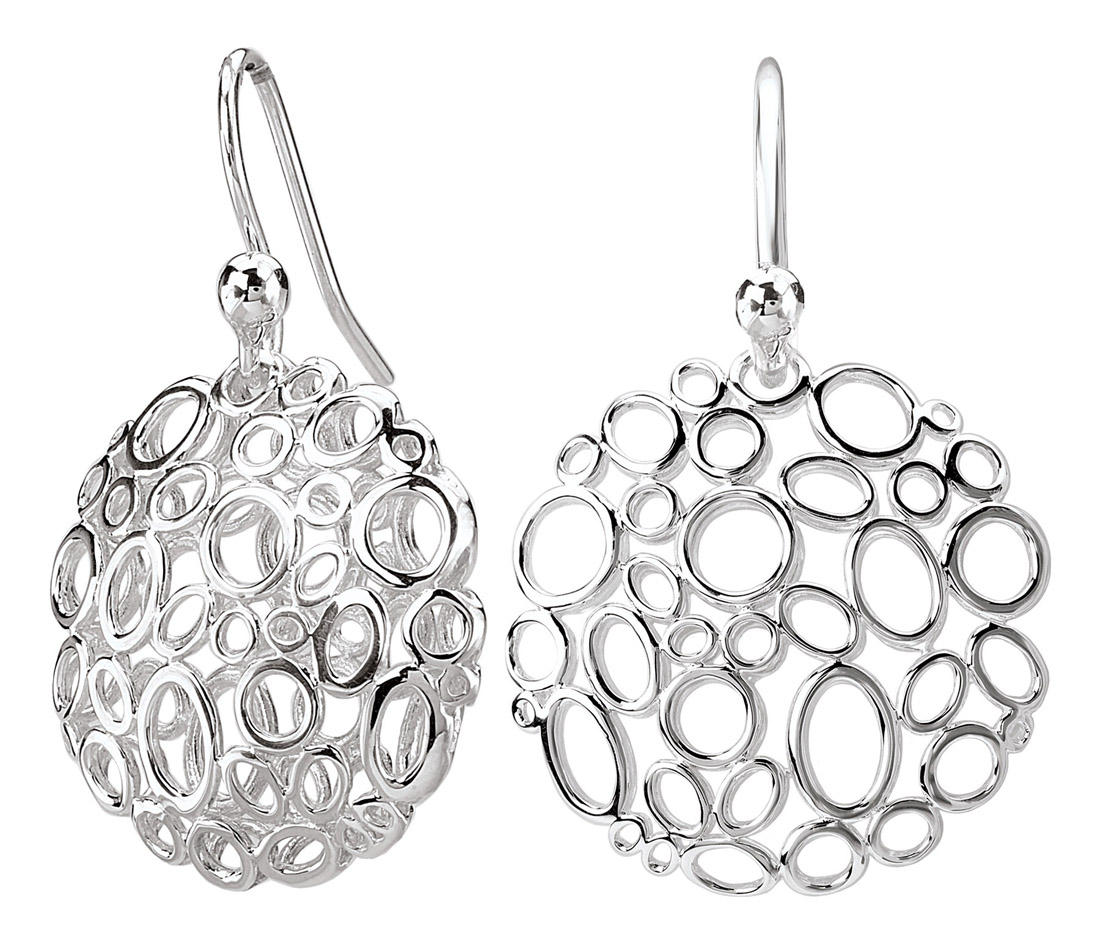 Round Oval Cutout Silver Drop Earrings
