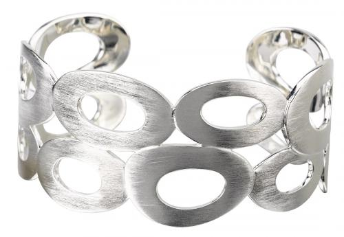 Satin Silver Cuff Bracelet with Oval Cutouts