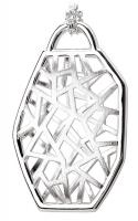 Satin Lattice Geometric Silver Pendant
